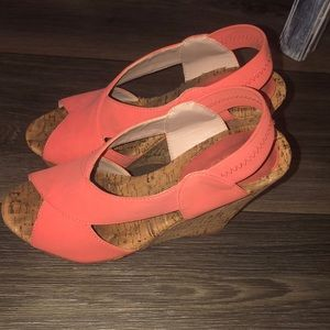 Orange wedge shoes